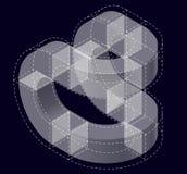 Forma del vector curvado del extracto en negro Marca isométrica de institución científica, centro de investigación, laboratorios  Imagenes de archivo