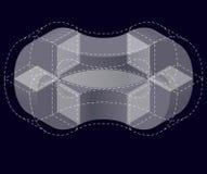 Forma del vector curvado del extracto en negro Marca isométrica de institución científica, centro de investigación, laboratorios  Fotografía de archivo libre de regalías