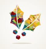 Forma del vischio di Buon Natale con la composizione EPS10 nel triangolo Immagine Stock