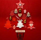 Forma dell'albero di disposizione del piano della raccolta dell'ornamento di Natale Immagine Stock