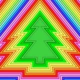 Forma dell'albero di Natale composta di tubi metallici variopinti Fotografia Stock