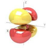 Forma dell'orbitale atomico di 4Dxz M-1 su fondo bianco Availa illustrazione di stock