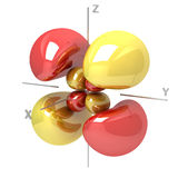 Forma dell'orbitale atomico di 4Dyz M-1 su fondo bianco Availa illustrazione di stock