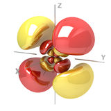 Forma dell'orbitale atomico di 5Dyz M-1 su fondo bianco Availa illustrazione di stock