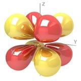 Forma dell'orbitale atomico di 4Fxyz m2 su fondo bianco profitto royalty illustrazione gratis