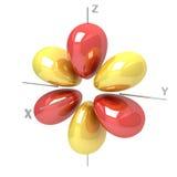 Forma dell'orbitale atomico di 4Fyz M-3 su fondo bianco Availa illustrazione di stock