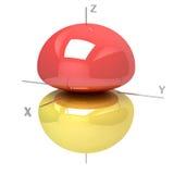 Forma dell'orbitale atomico 2pz su fondo bianco O disponibile illustrazione di stock
