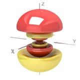 Forma dell'orbitale atomico 6Pz su fondo bianco O disponibile illustrazione vettoriale