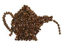 Forma della caffettiera con i fagioli Fotografia Stock Libera da Diritti