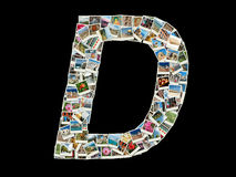 Forma della lettera di D (alfabeto latino) fatta come il collage della foto di viaggio immagini stock