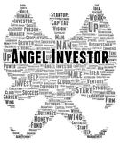 Forma della nuvola di parola dell'investitore di angelo Fotografia Stock