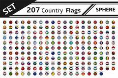 forma della sfera di 207 bandiere di paesi illustrazione vettoriale