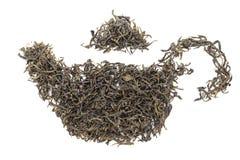 Forma della teiera fatta di tè verde organico (camellia sinensis) Immagine Stock Libera da Diritti