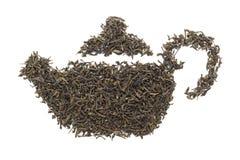 Forma della teiera fatta di tè verde organico (camellia sinensis) Fotografia Stock