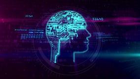 Forma della testa di intelligenza artificiale su fondo digitale illustrazione vettoriale