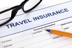 Forma di assicurazione di viaggio Fotografie Stock