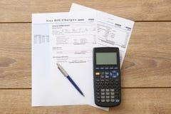 Forma di carta delle spese di fattura del gas Fotografia Stock