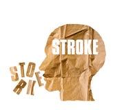 A forma di di carta sgualcito come una testa umana e concetto del COLPO su briciolo Immagine Stock Libera da Diritti