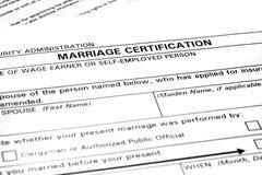 Forma di certificazione di matrimonio Fotografie Stock