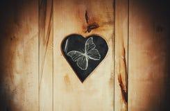 Forma di cuore e della farfalla Immagini Stock Libere da Diritti