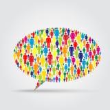 Forma di discorso di MS140903Multitud02-Bubble riempita di icone della gente Immagine Stock