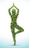 Forma di foglia verde, posizione di loto di yoga, illustrazione di vettore Illustrazione di Stock