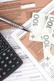 Forma di imposta sul reddito delle persone fisiche polacca Fotografia Stock Libera da Diritti