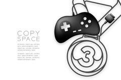 Forma di numero uno della medaglia fatta da cavo retro colore del nero del joypad o di Gamepad, illustrazione di progettazione di royalty illustrazione gratis