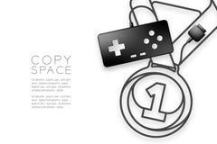Forma di numero uno della medaglia fatta da cavo retro colore del nero del joypad o di Gamepad, illustrazione di progettazione di illustrazione di stock