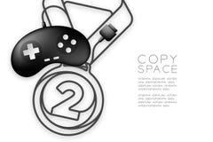 Forma di numero uno della medaglia fatta da cavo retro colore del nero del joypad o di Gamepad, illustrazione di progettazione di illustrazione vettoriale