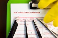 Forma di reclamo dell'assicurazione malattia Fotografia Stock Libera da Diritti