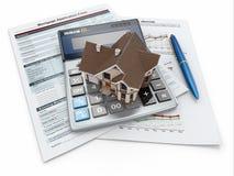Forma di richiesta di ipoteca con un calcolatore e una casa. illustrazione vettoriale
