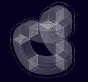 Forma di vettore di curvatura dell'estratto sul nero Marca isometrica di istituzione scientifica, centro di ricerca, laboratori b illustrazione vettoriale