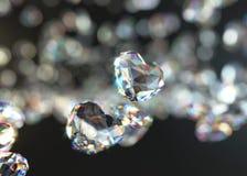 Forma Diamond Falling com Bokeh claro, do coração rendição 3d Foto de Stock