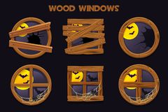 Forma differente e vecchie finestre di legno rotte, oggetti della costruzione del fumetto con le ragnatele e luna piena illustrazione di stock
