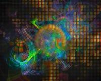 Forma digitale astratta di caos di immaginazione di frattale, modello, discoteca, partito illustrazione di stock