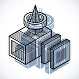 Forma dimensional do vetor abstrato isométrico, figura poligonal ilustração royalty free