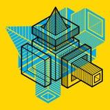 Forma dimensional do vetor abstrato isométrico, figura poligonal ilustração stock