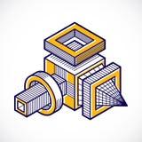 A forma dimensional isométrica do vetor abstrato fez a utilização geométrica ilustração do vetor