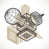 A forma dimensional isométrica do vetor abstrato fez a utilização geométrica ilustração royalty free
