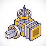 A forma dimensional isométrica do vetor abstrato fez a utilização geométrica ilustração stock