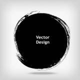Forma disegnata a mano del cerchio etichetta, elemento di progettazione di logo Onda dell'estratto della spazzola Simbolo nero di Immagine Stock