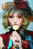 Forma disparada da mulher no estilo da boneca. Imagem de Stock