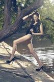 Forma disparada da mulher nova no swimsuit Imagens de Stock