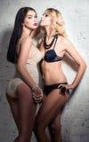 Forma disparada: duas meninas 'sexy' (louro e morena) no roupa interior Fotografia de Stock