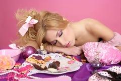 Forma do barbie da princesa da cor-de-rosa do partido da extremidade foto de stock royalty free