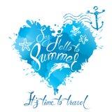 A forma do coração é feita de cursos da escova e borra nas cores do azul Fotos de Stock Royalty Free