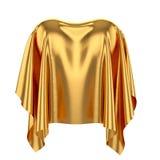 Forma do coração coberta com o pano de seda dourado isolado no CCB branco Fotografia de Stock Royalty Free