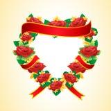 Forma do coração com flor cor-de-rosa ilustração do vetor