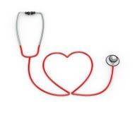 forma do coração 3d criada com o estetoscópio Imagens de Stock Royalty Free